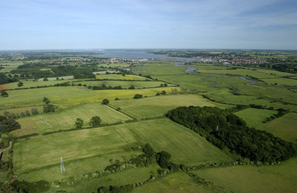 Aerial view of fields and villages