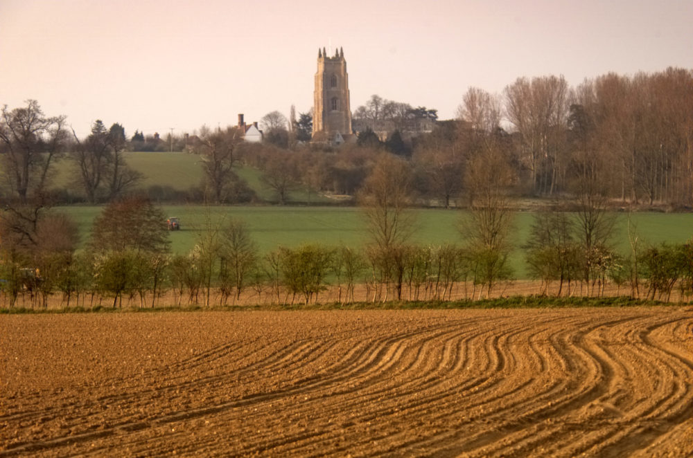Church seen from some fields