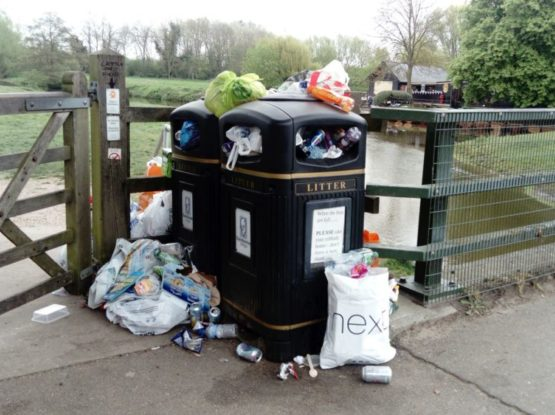 Bins overflowing with rubbish