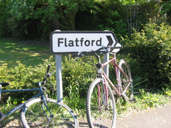 Bikes by a Flatford sign