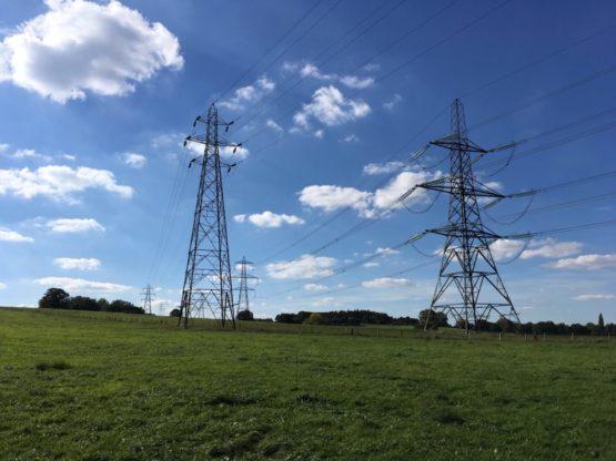 Pylons in a field
